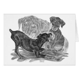 Perritos del Pinscher del Doberman que dibujan por Tarjeta De Felicitación