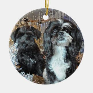 Perritos en el navidad adorno navideño redondo de cerámica