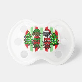 Perritos gemelos del laboratorio del navidad chupetes para bebes