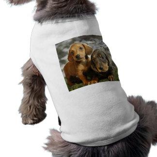 Perritos lindos del Dachshund (Brown/negro) Camisetas De Perrito