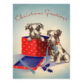 Perritos lindos del navidad del vintage envueltos