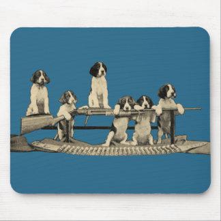 Perritos Mousepad del perro de las armas de fuego Tapete De Ratón