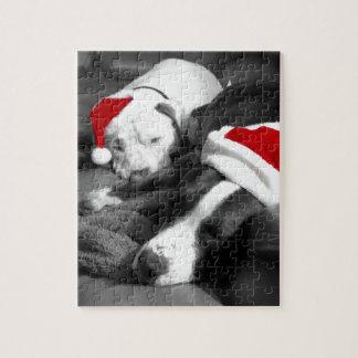 perritos soñolientos santa adorable del pitbull puzzle con fotos