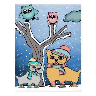 perritos y búhos postal