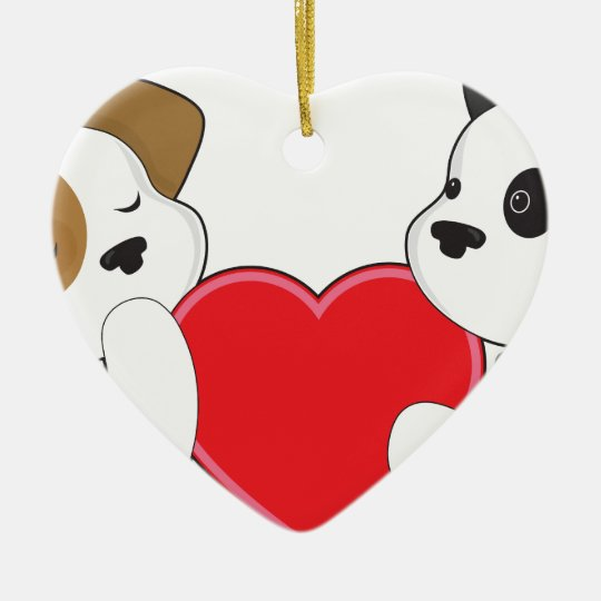 Perritos y corazón adorno navideño de cerámica en forma de corazón