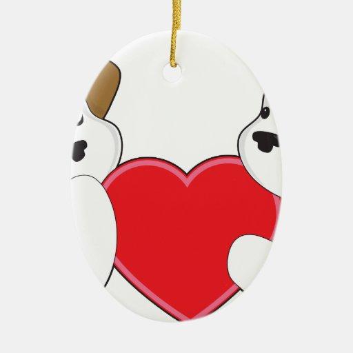 Perritos y corazón adorno ovalado de cerámica