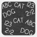 Perro 2 del gato de ABC 123+2 pegatinas de la Calcomanía Cuadrada Personalizada