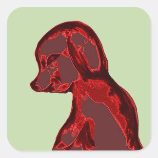 Perro abstracto rojo pegatina cuadrada
