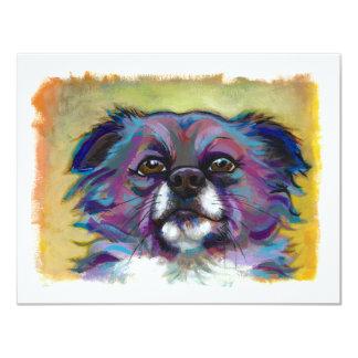 """Perro adorable del arte de la pintura de la invitación 4.25"""" x 5.5"""""""