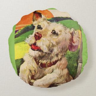 perro adorable del terrier de los años 40 cojín redondo
