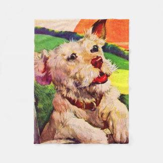 perro adorable del terrier de los años 40 manta polar