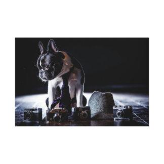 Perro aficionado del fotógrafo del dogo francés impresión en lona estirada