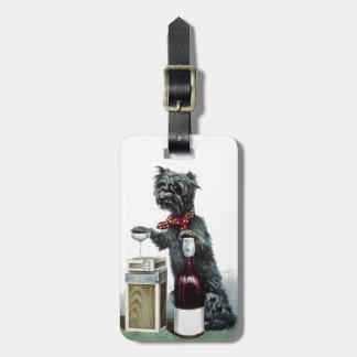 Perro alegre etiqueta de maleta