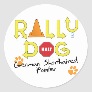 Perro alemán de la reunión del indicador de pelo pegatina redonda