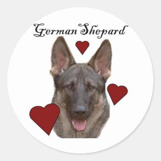 perro alemán del shepard pegatina redonda