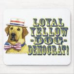 Perro amarillo leal Demócrata Mousepad Tapetes De Raton