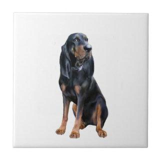 Perro americano del Coon - negro y moreno Azulejo Cuadrado Pequeño