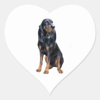 Perro americano del Coon - negro y moreno Pegatina En Forma De Corazón