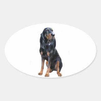 Perro americano del Coon - negro y moreno Pegatina Ovalada