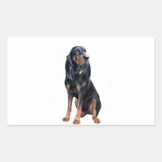 Perro americano del Coon - negro y moreno Pegatina Rectangular