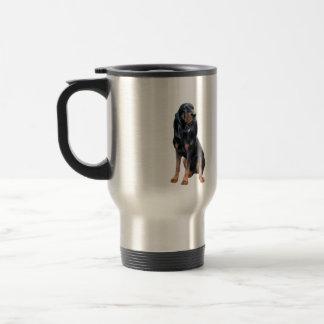 Perro americano del Coon - negro y moreno Taza Térmica