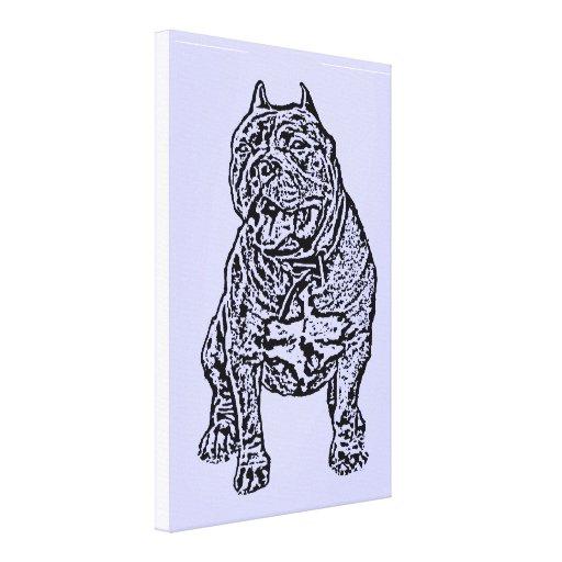 Perro americano del matón lona estirada galerías