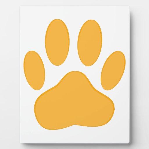 Perro anaranjado Pawprint Placas Con Foto