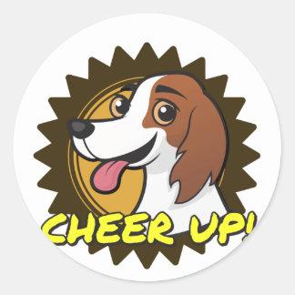 ¡Perro - anime para arriba! Pegatina Redonda