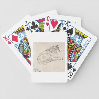 Perro ártico, haciendo frente a la derecha (lápiz  baraja de cartas bicycle