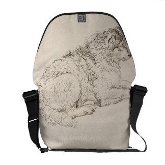 Perro ártico, haciendo frente a la derecha (lápiz  bolsas messenger