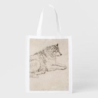 Perro ártico, haciendo frente a la derecha (lápiz  bolsas reutilizables