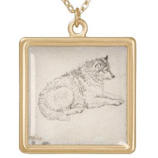 Perro ártico, haciendo frente a la derecha (lápiz  colgante cuadrado