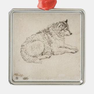 Perro ártico, haciendo frente a la derecha (lápiz adorno cuadrado plateado