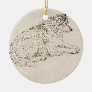 Perro ártico, haciendo frente a la derecha (lápiz adorno redondo de cerámica