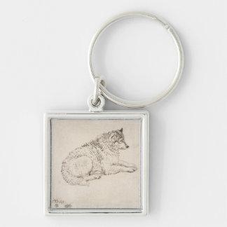Perro ártico, haciendo frente a la derecha (lápiz  llavero cuadrado plateado
