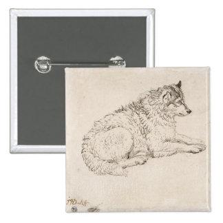 Perro ártico, haciendo frente a la derecha (lápiz  pin cuadrado
