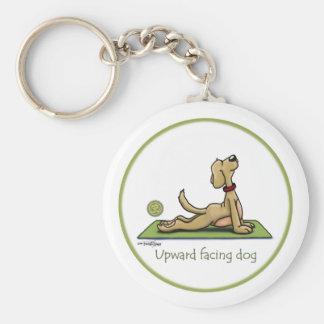 Perro ascendente del revestimiento - actitud de la llavero redondo tipo pin
