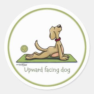 Perro ascendente del revestimiento - actitud de la etiquetas redondas
