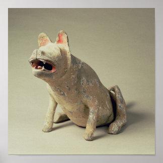 Perro asentado cerámica china temprana, tumba póster