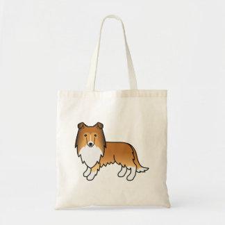 Perro áspero del dibujo animado del collie del bolsa tela barata