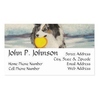 Perro australiano del disco volador del pastor plantillas de tarjeta de negocio