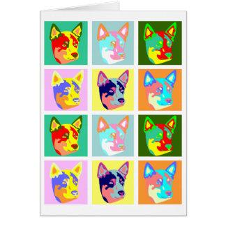 Perro australiano del ganado del arte pop tarjeta de felicitación