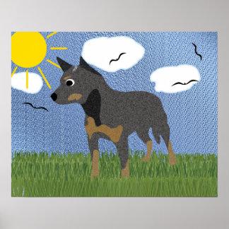 Perro australiano del ganado del dibujo animado póster