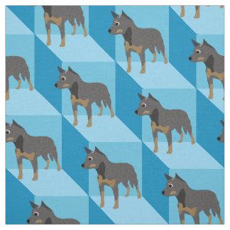 Perro australiano del ganado en los cubos azules telas