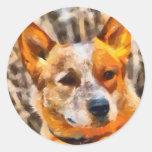 Perro australiano del ganado - Heeler rojo Pegatina Redonda