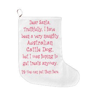 Perro australiano travieso del ganado calcetín de navidad grande