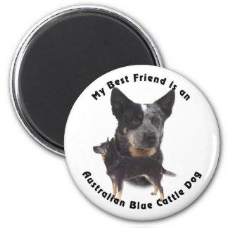 Perro azul australiano del ganado del mejor amigo imán redondo 5 cm