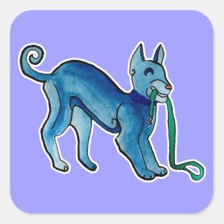 Perro azul céltico pegatina cuadrada