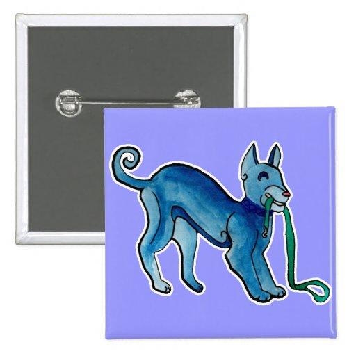 Perro azul céltico pin cuadrada 5 cm