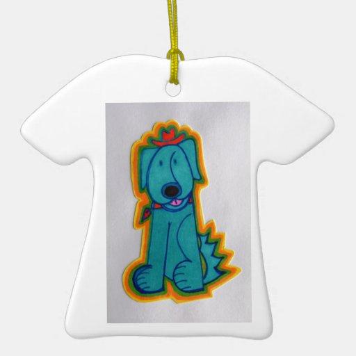 Perro azul con el corazón adorno navideño de cerámica en forma de playera